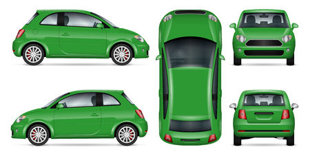 Set of green mini car mock-up for car branding and advertising.