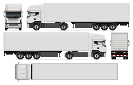 Naczepa do ciężarówek wektora, makieta wizerunku marki samochodów i reklamy. Ilustracje wektorowe