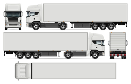 Semi-trailer truck vector, mock-up for car branding and advertising.