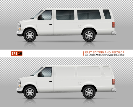 SUV cars vector mock-up for car branding and advertising. White vehicles on transparent background. Elements of corporate identity. All layers and groups well organized for easy editing and recolor.
