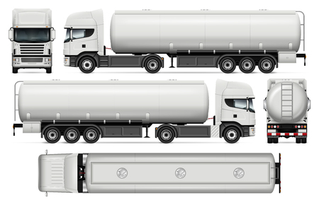 Tanker truck vector mock-up for car branding and advertising. Elements of corporate identity.
