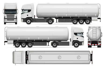 タンカー トラック ベクトル モックアップ車ブランド化および広告のため。コーポレート ・ アイデンティティの要素です。