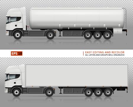 Trucks mock-up for car branding and advertising.