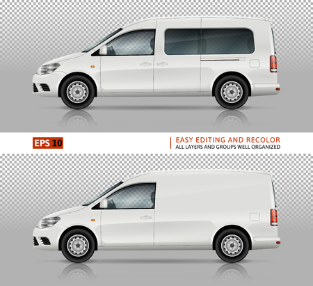 White cars vector mock-up for car branding and advertising. Mini van and wagon on white background. Elements of corporate identity. All layers and groups well organized for easy editing and recolor.
