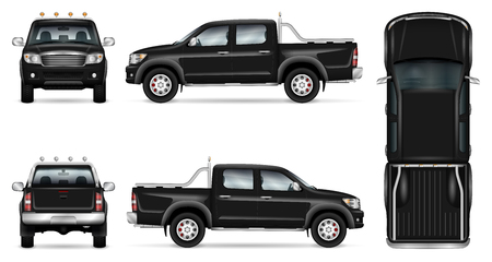 O vetor de camionetas pretas se mapeia para a marca e publicidade de automóveis. Escolha o modelo do carro em branco. Elementos de identidade corporativa. Todas as camadas e grupos bem organizados para fácil edição e recolorir.