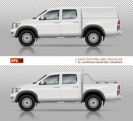 Pickup truck vector mock up for car branding and advertising. Pick up cars template. Elements of corporate identity. All layers and groups well organized for easy editing and recolor.