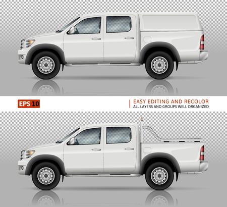 Pick-up truck vector mock voor auto branding en reclame. Pick-up auto sjabloon. Elementen van bedrijfsidentiteit. Alle lagen en groepen goed georganiseerd voor eenvoudige bewerking en recolor.
