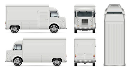 Food truck vector mock up for car branding, advertising, corporate identity. Mobile kitchen retro van template. All layers and groups well organized for easy editing. View from side, front, back, top.