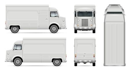 Vecteur de camion de nourriture mock up pour l'image de marque de voiture, la publicité, l'identité d'entreprise. Modèle de fourgon rétro cuisine mobile. Tous les calques et groupes sont bien organisés pour faciliter l'édition. Vue de côté, avant, arrière, haut.