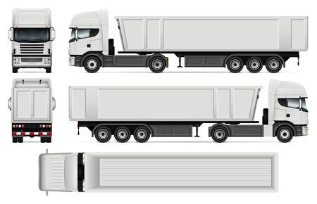 Camión con vector de remolque simulacro para la marca del coche, la publicidad y la identidad corporativa. Plantilla de camión volquete en blanco. Todas las capas y grupos están bien organizados para una fácil edición y cambio de color.