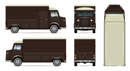 Retro food truck vector mock up for car branding, advertising, corporate identity. Mobile kitchen van template. All layers and groups well organized for easy editing. View from side, front, back, top.