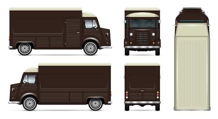 Retro vector van de voedselvrachtwagen spot omhoog voor auto het brandmerken, reclame, collectieve identiteit. Mobile kitchen van template. Alle lagen en groepen goed georganiseerd voor eenvoudige bewerking. Zicht vanaf zijkant, voorkant, achterkant, bovenkant.