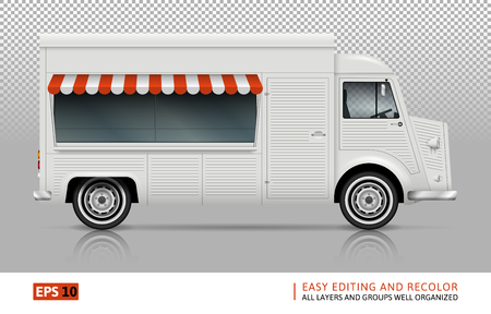 Retro food truck vector mock up for car branding, advertising and corporate identity. Mobile kitchen van template. All layers and groups well organized for easy editing. View from right side. Illustration