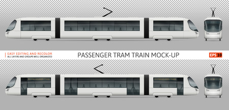 Vector tram train template for advertising, corporate identity. White tramway illustration. Vehicle branding mockup.