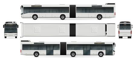 Bus vector mock-up for advertising, corporate identity. Isolated passenger transport template on white. Vehicle branding mockup. Vettoriali