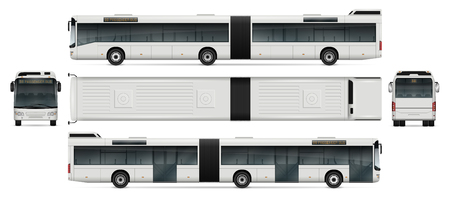 Bus vector mock-up for advertising, corporate identity. Isolated passenger transport template on white. Vehicle branding mockup. Vectores