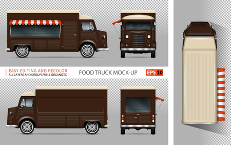 Food truck vector mock-up voor reclame, huisstijl. Geïsoleerde mobiele koffie van sjabloon op transparante achtergrond. Model voor voertuigbranding. Uitzicht vanaf zijkant, voorkant, achterkant en bovenkant. Stockfoto - 90278114