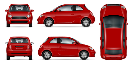 Red car vector mock-up for advertising, corporate identity. Isolated small car template on white. Vehicle branding mockup. All layers and groups well organized for easy editing and recolor. View from five sides.