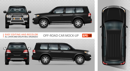 Off road truck vector mock-up for advertising, corporate identity. Isolated SUV car template. Vehicle branding mockup. All layers and groups well organized for easy editing and recolor. View from five sides.