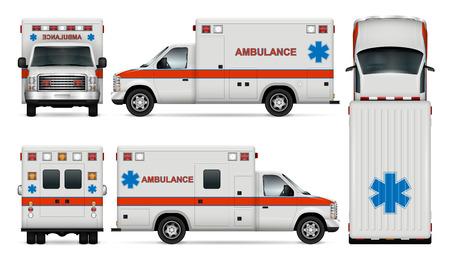 Weißes Krankenwagenauto-Vektormodell. Lokalisierte medizinische Packwagenschablone auf weißem Hintergrund. Alle Ebenen und Gruppen sind gut organisiert, um sie einfach bearbeiten und neu einfärben zu können. Blick von der Seite, von vorne, von hinten und von oben.