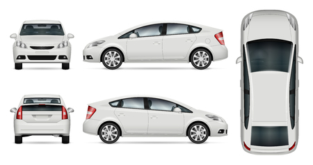 White car vector mock-up for advertising, corporate identity. Isolated car template on white. Vehicle branding mock-up. All layers and groups well organized for easy editing and recolor. View from five sides. Vectores