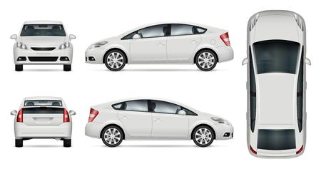 Witte auto vector mock-up voor reclame, huisstijl. Geïsoleerde auto sjabloon op wit. Model van voertuigbranding. Alle lagen en groepen goed georganiseerd voor eenvoudig bewerken en opnieuw kleuren. Uitzicht vanaf vijf kanten.