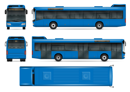 Blue bus vector mock-up for advertising, corporate identity. Isolated city transport template on white background. Vehicle branding mock-up. All layers and groups well organized for easy editing and recolor. View from five sides.