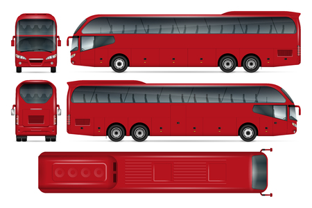 Red bus vector mock-up for advertising, corporate identity. Isolated template   white background. Vehicle branding mockup.