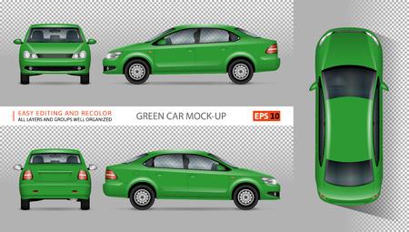 Groene auto vectormodel voor reclame, collectieve identiteit.