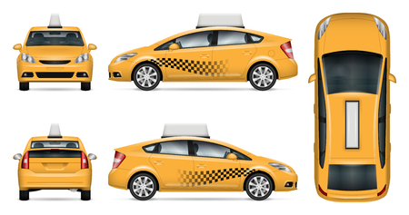 Taxi cab vector mock up for advertising, corporate identity. Isolated template of city car on white background.