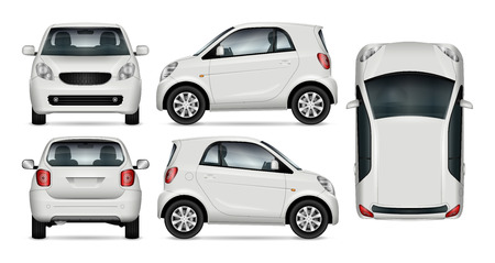 Compact car vector mock up for advertising, corporate identity. Isolated template of small car on white background. Çizim