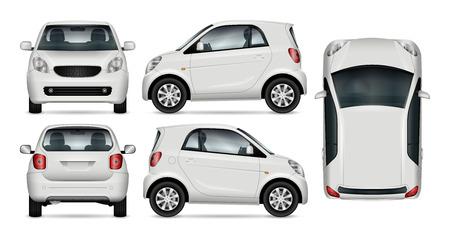 Kleinwagenvektorspott oben für Werbung, Unternehmensidentität. Getrennte Schablone des kleinen Autos auf weißem Hintergrund.