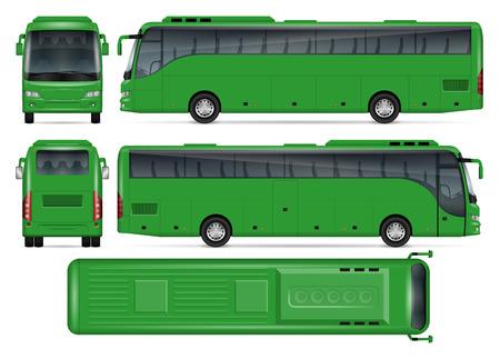 Groene bus vector mock up voor reclame, huisstijl. Geïsoleerde sjabloon van coach bus op witte achtergrond. Model van voertuigbranding. Eenvoudig te bewerken en opnieuw kleuren. Uitzicht vanaf zijkant, voorkant, achterkant, bovenkant.