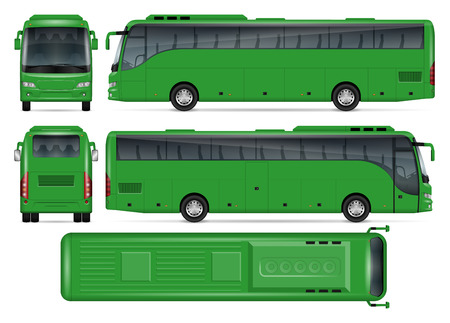 Makieta wektor zielony autobus do reklamy, identyfikacji wizualnej. Na białym tle szablon autokaru na białym tle. Makieta brandingu pojazdu. Łatwe do edycji i ponownego kolorowania. Widok z boku, z przodu, z tyłu, z góry.