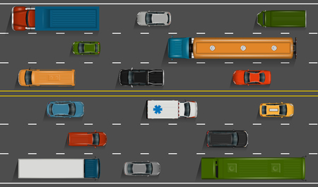 Vector vehicles on the highway illustration. Various detailed cars and trucks with top view. Road auto transport on grey asphalt background.