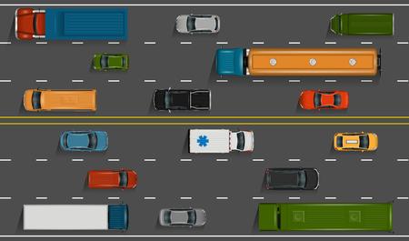 Vektorfahrzeuge auf der Autobahn Illustration. Verschiedene ausführliche Autos und LKWs mit Draufsicht. Straßenselbsttransport auf grauem Asphalthintergrund. Vektorgrafik