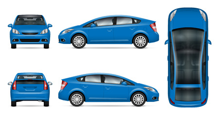 Vetor de carro azul simulado para publicidade, identidade corporativa. Molde isolado do carro no fundo branco. Modelo de marca de veículo. Fácil de editar e recolorir. Vista do lado, frente, costas, topo. Foto de archivo - 94623476