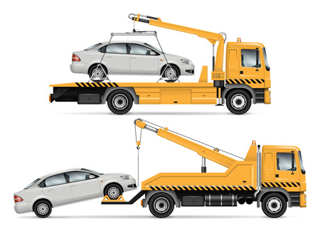 Tow truck vector mock-up. Isolated template of breakdown lorry. Vehicle branding mockup. Truck towing the car, side view. All elements in the groups on separate layers. Easy to edit and recolor.