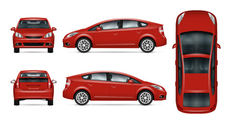 Red car vector mock-up. Isolated template of car on white background. Vehicle branding mock-up. Side, front, back, top view. All elements in the groups on separate layers.