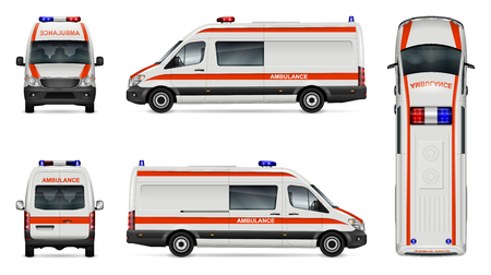 Ambulance car vector mock-up isolated template of medical van on white background. Vehicle branding mock up, side, front, back, top view. All elements in the groups on separate layers easy to edit and
