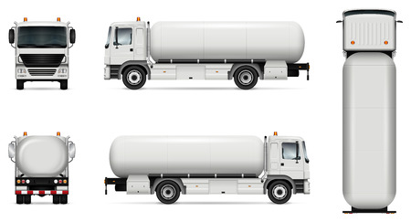 Tankwagen vector mock-up. Geïsoleerde sjabloon van tankwagen op wit. Model voor voertuigbranding. Zijkant, voorkant, achterkant, bovenaanzicht. Alle elementen in de groepen op afzonderlijke lagen. Eenvoudig te bewerken en opnieuw kleuren.