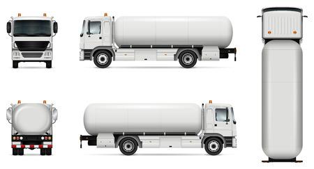Tankwagen-Vektor-Modell. Getrennte Schablone des Tanklastwagens auf Weiß. Fahrzeug-Branding-Modell. Seitenansicht, Vorderansicht, Rückansicht, Draufsicht. Alle Elemente in den Gruppen auf separaten Ebenen. Leicht zu bearbeiten und neu einzufärben.
