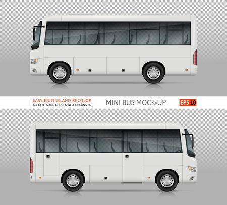 Bus vector mock-up. Isolated template of realistic city transport on transparent background, view from side. Vehicle branding mockup. All elements in the groups on separate layers. Easy to edit and recolor.