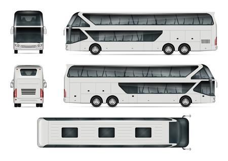 Bus-Vektor-Modell. Lokalisierte Schablone des Reisebusses auf weißem Hintergrund. Fahrzeug-Branding-Modell. Seitenansicht, Vorderansicht, Rückansicht, Draufsicht. Alle Elemente in den Gruppen auf separaten Ebenen. Leicht zu bearbeiten und neu einzufärben. Vektorgrafik