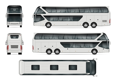 Bus vector mock-up. Isolated template of tour coach on white background. Vehicle branding mockup. Side, front, back, top view. All elements in the groups on separate layers. Easy to edit and recolor. Vettoriali