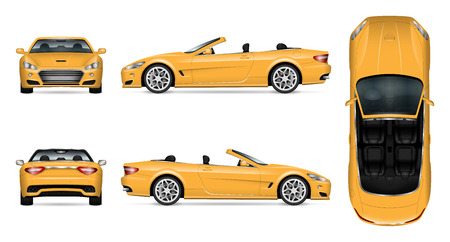 Car vector mock up isolated template of cabriolet car on white background. Vehicle branding mock up, side, front, back, top view. All elements in the groups on separate layers, easy to edit and recolor.