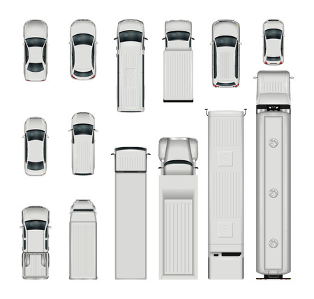 Vector cars top view. Isolated realistic vehicles on white background.