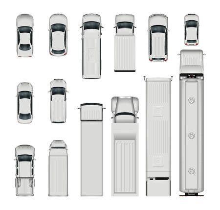 Vector auto's bovenaanzicht. Geïsoleerde realistische voertuigen op witte achtergrond. Vector Illustratie