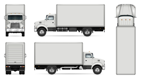 Truck vector mock-up. Isolated template of lorry on white background. Vehicle branding mockup. Side, front, back, top view. All elements in the groups on separate layers. Easy to edit and recolor. Stock fotó - 96919467