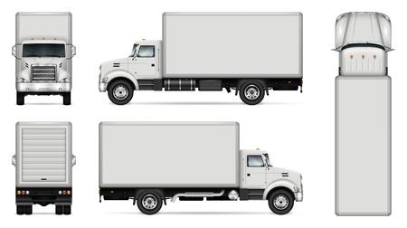 Vrachtwagen vector mock-up. Geïsoleerde sjabloon van vrachtwagen op witte achtergrond. Model voor voertuigbranding. Zijkant, voorkant, achterkant, bovenaanzicht. Alle elementen in de groepen op afzonderlijke lagen. Eenvoudig te bewerken en opnieuw kleuren. Vector Illustratie